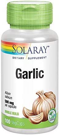 Solaray Garlic Bulb 500 mg Healthy Immune, Circulatory Cardiovascular Systems Support Vegan, Non-GMO 100 VegCaps