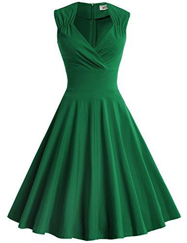 MUXXN Women's Vintage 1950s Sleeveless Empire Waist Cocktail Dress (S Green) ()