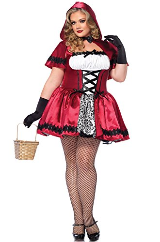 Leg Avenue Women's Plus-Size 2 Piece Gothic Red Riding Hood Costume, Red/White, 3X/4X ()