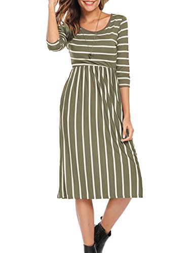- Naggoo Women's 3/4 Sleeve Striped Dress Elastic Waist Tunic T-Shirt Dress with Pocket (XL, Army Green)