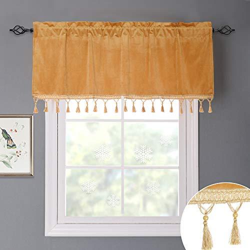 Velvet Valance Window - StangH Velvet Window Valances - Half Blackout Velvet Textured Curtain Tiers Rod Pocket Tassels Valance for Home Decoration/Blinds, Orange Yellow, W52 x L18, 1 Piece