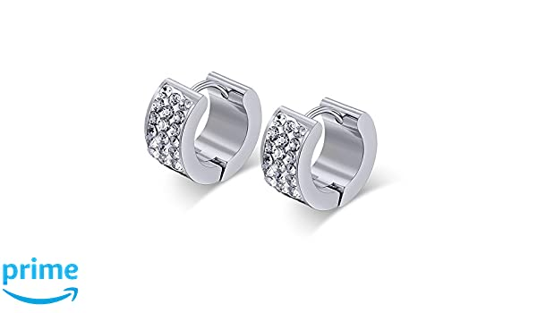 2pcs Mens Black Stud Earrings Stainless Steel Illusion Tunnel Plug Screw Back with Carbon Fiber