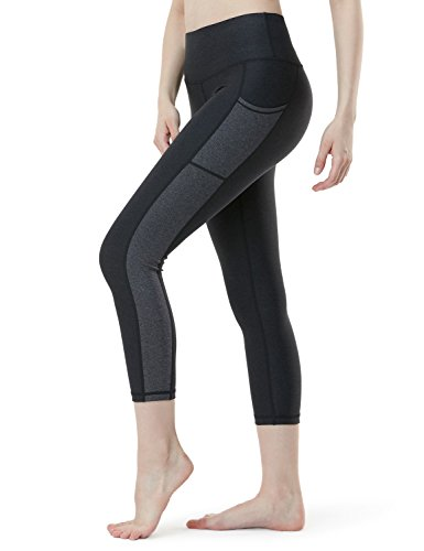 Tesla TM-FYC33-HHC_Medium Yoga 21″ Capri Mid-Waist Pants Side Panel Design w Side Pockets FYC33