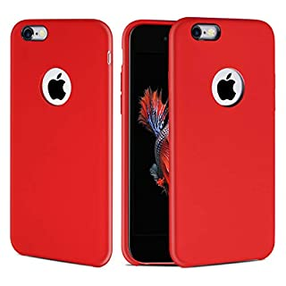 "CellEver iPhone 6 Plus / 6s Plus Case, Liquid Guard Silicone Rubber Shockproof Case with Soft Microfiber Cloth Cushion for Apple iPhone 6 Plus / 6S Plus 5.5"" (H-Red)"
