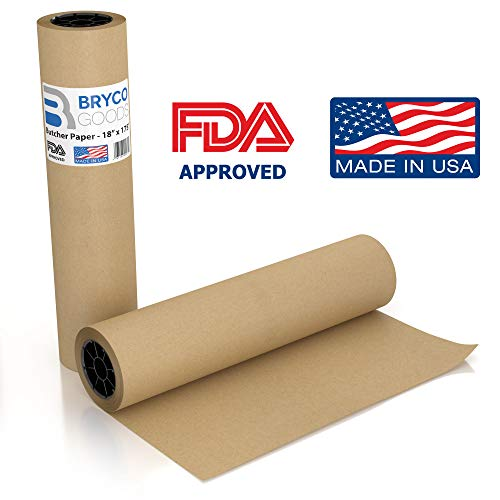 Brown Kraft Butcher Paper Roll - 18 Inch x 175 Feet (2100 Inch) - Food Grade FDA Approved – Great Smoking Wrapping Paper for Meat of all Varieties – Made in USA – Unbleached Unwaxed and Uncoated ()