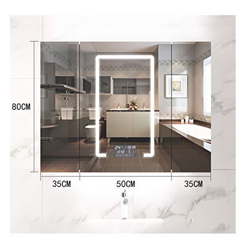 DZWLYX Bathroom Mirror Cabinets LED Illuminated Mirrored Bathroom Cabinets Wall Mounted with -