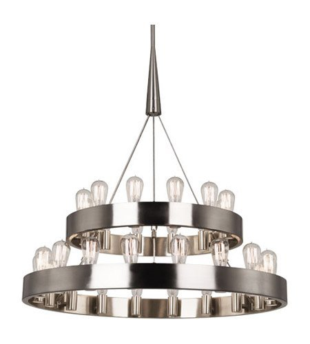 Robert Abbey B2099 Chandeliers with Shades, Brushed Nickel Finish