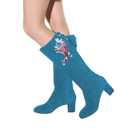 4 FSJ Calf Boots Back Block Chic Size Fish Heels Comfort Zipper 15 Steel Women Prints with Shoes Mid US Blue gwgf6q8