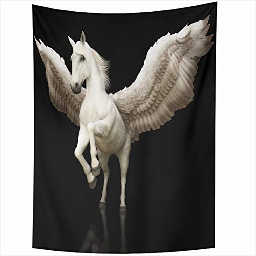 Ahawoso Tapestry 60 x 80 Inches Graphic White Pegasus Majestic Mythical Greek Winged Rendering Horse Wing Fantasy Hybrid Fairytale Wall Hanging Home Decor Tapestries for Living Room Bedroom Dorm -