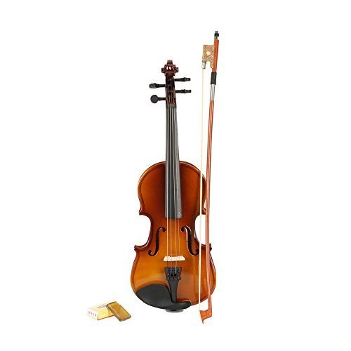 1/8 Size Ebony Acoustic Violin with Case ,Bow, Rosin Natural for Kids by YR.Seasons