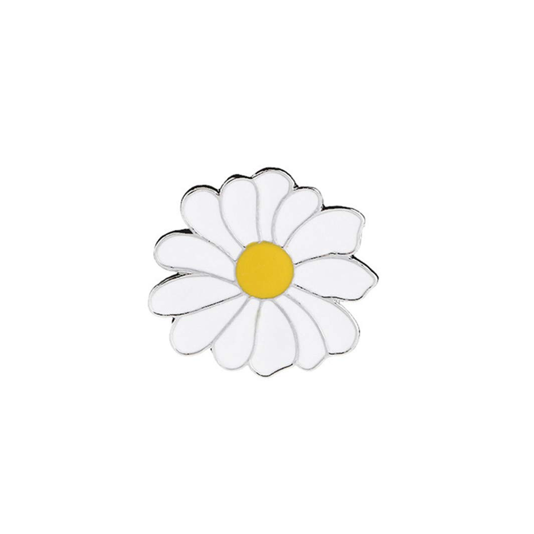 YouCY Daisy Brooch Flower Enamel Lapel Pin White Daisy Badge Simple Beach Style Brooch for Women Girls Clothes Bags Backpacks Decor