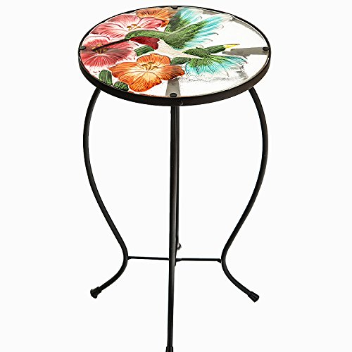 CEDAR HOME Side Table Outdoor Garden Patio Metal Accent Desk with Round Hand Painted Glass by CEDAR HOME