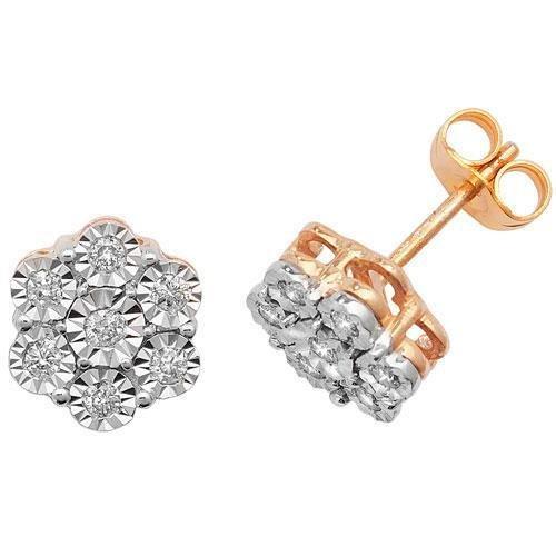 Boucles d'oreilles diamant Illusion 9ct hpk10,25ct