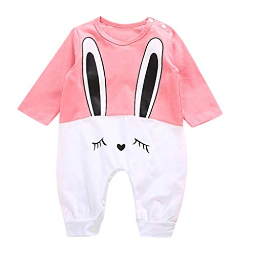 2018 New Cute Newborn Baby Girls Boys Romper, Rabbit Print Jumpsuit Casual Sleepwear Playsuit Outfits Clothes (Pink, 0-6 Months) -