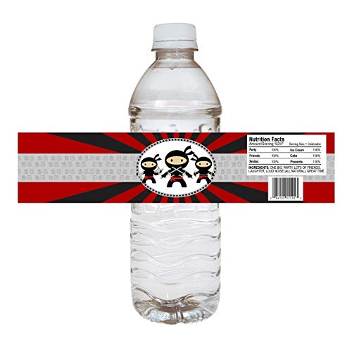 Ninja Water Bottle Labels - Kids Boy Girl Birthday Party Drink Sticker Label Decorations - Set of 10