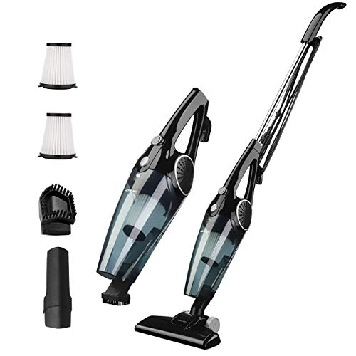 Homasy 3 in 1 Stick Vacuum & Handheld Vacuum, Lightweight Corded Vacuum Cleaner Bagless with HEPA Filtration,12Kpa Super Power Suction for Various Surfaces, Black
