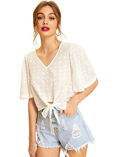 SheIn Women's V Neck Tie Front Short Sleeve Eyelet Embroidery Crop Blouse Shirt Top Medium White#2