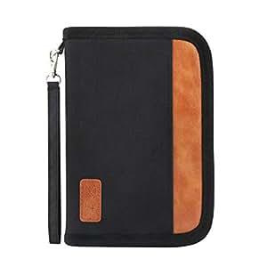 Idefair Travel Wallet, RFID Blocking Family Passport Holder for Women and Men Zipper Document Organizer with Note Book - Black