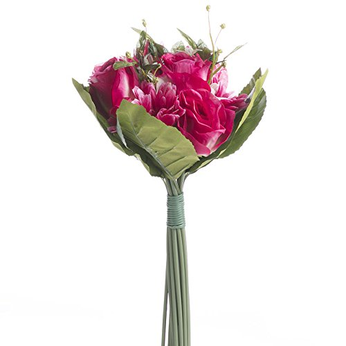 Bountiful Rose Bouquet - Factory Direct Craft® Bountiful Artificial Fuchsia Gerbera Daisy and Rose Floral Bundle for Centerpieces, Designing and Displaying