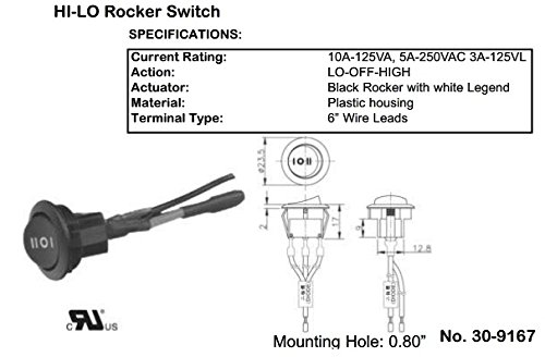 Toggle Plastic Switch Housing (Philmore 30-9167 Pre-wired Hi-Lo Rocker Switch)
