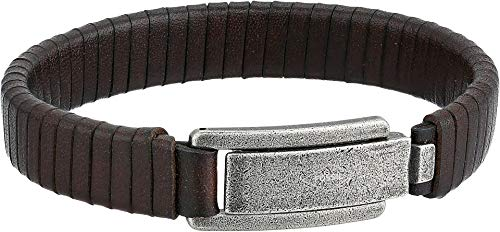 (Fossil Men's Wrapped Brown Leather Bracelet)