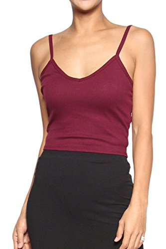 TheMogan Women's Basic Ribbed Knit Strappy Crop Tank Top Burgundy S