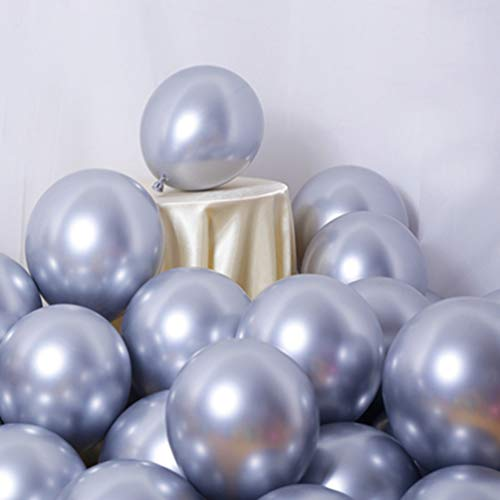Party Balloons 50 Pcs 12Inch Metallic Chrome Helium Shiny Latex Thicken Balloon Perfect Decoration for Wedding Birthday Baby Shower Graduation Christmas Carnival Party Supplies Silver]()