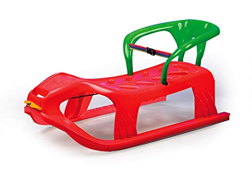 Jamara 460366 460366-Snow Play Sled Snow-Star 90cm Metal Runners, Protection Against Tipping, Backrest incl. Safety Strap, Red, 90 cm by JAMARA