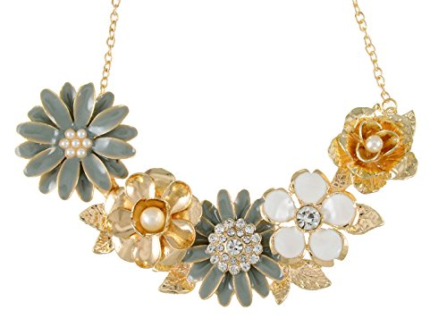 Floral Vintage Bib (Alilang Womens Flower Rhinestones Pearl Statement Bib Golden Tone Necklace With Gray Yellow Enamel)