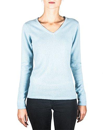Sweater Cachemire ch xxl V A Chiaro Pullover mere Con Da 100 Cash xs Maglione Blu Donna Scollo 7Btq5