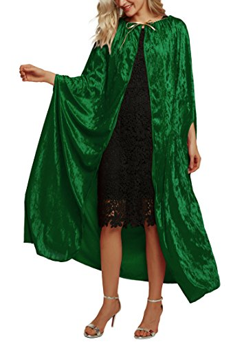 Urban CoCo Women's Costume Full Length Crushed Velvet Hooded Cape (Series 2-Green)