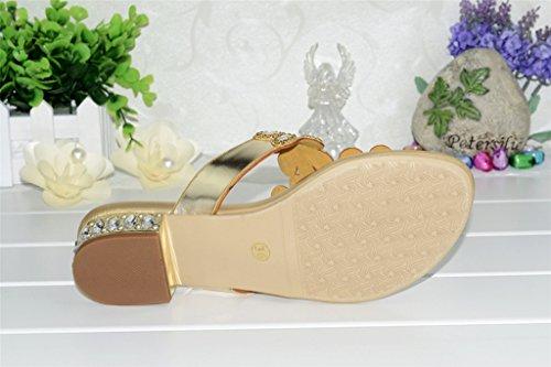 Crc Kvinners Uformelle Komfortabel Floral Glitter Rhinestone Microfiber Flip-flop Sandaler Slippers Gull