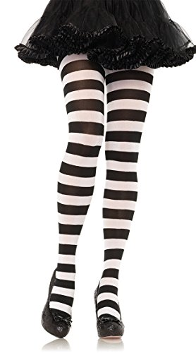 Leg Avenue Women's Nylon Striped Tights, Black/White, One Size