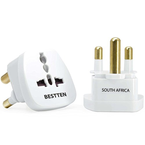 International Plug Adapter for South Africa, Lesotho, Namibia and Swaziland, Type M, 3-Pin Grounded Plug, Universal Travel Outlet, Tamper Resistant Socket- 2 Pack