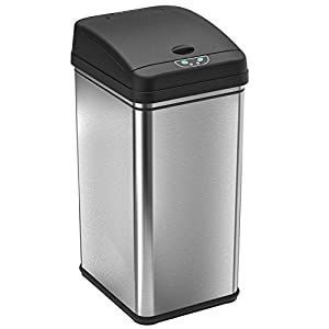 ITouchless 13 Gallon Stainless Steel Automatic Trash Can With Odor Control  System, Big Lid Opening Sensor Touchless Kitchen Trash Bin (Base Version    No AC ...