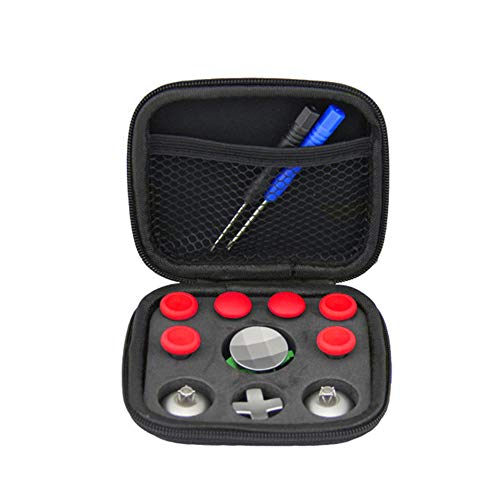 Maserfaliw Buttons, DIY Controller Joystick Trigger Buttons Thumbsticks Kits for Xbox One Elite PS4, General Game Essentials. Red with Bag
