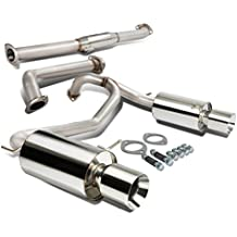 "Hyundai TIburon V6 Stainless Steel Dual 4"" Rolled Muffler Tip Catback Exhaust System"