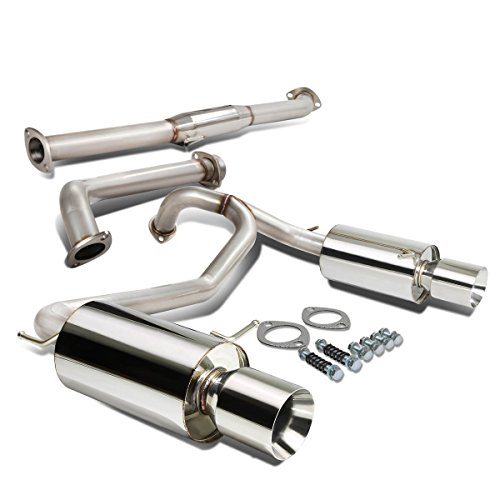For TIburon V6 Stainless Steel Dual 4 inches Rolled Muffler Tip Catback Exhaust System