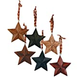 Little Details Star Ornaments with Plaid Ribbon Set/6