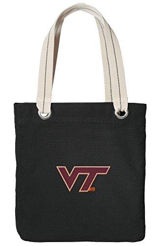 (Virginia Tech Hokies Tote Bag Rich Cotton Canvas Virginia Tech Bags Black)