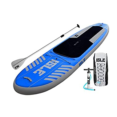 ISLE Airtech 10' Inflatable Stand Up Paddle Board (6  Thick) | New 2016 Fusion-Lite Construction up to 30% Lighter (Board Weight Only 18.6 Lbs.) | 1 Year Warranty | Supports up to 240 Pounds - All Around Performance | Includes Travel Paddle + Bag