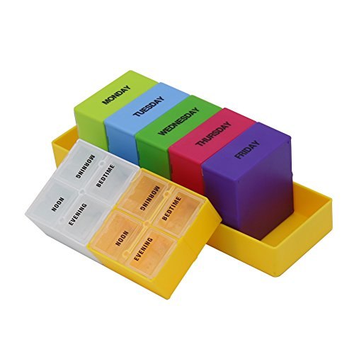 - HRX Package Weekly Colorful Pill Tray Organizer,7 Day Large Pill Box Dispenser 4 Times a Day, AM/PM Pop-Out Pill Planner