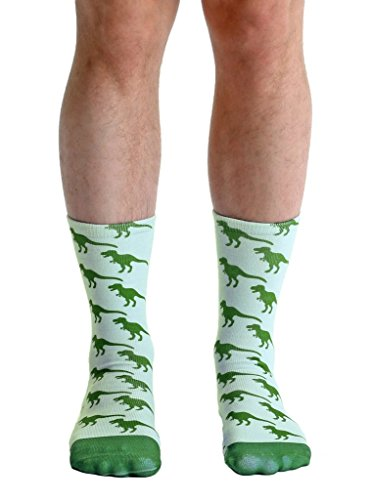 Living Royal Dinosaur Crew Socks with a Helicase brand sock ring, Dinosaur, One Size