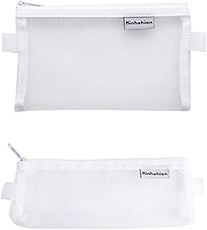 2 bolsas de malla para lápices, estuche transparente con cremallera, bolsa de cosméticos para bolígrafos, lápices y suministros escolares, bolsas de archivo, multiusos, bolsas de almacenamiento para viajes, suministros de oficina blanco: