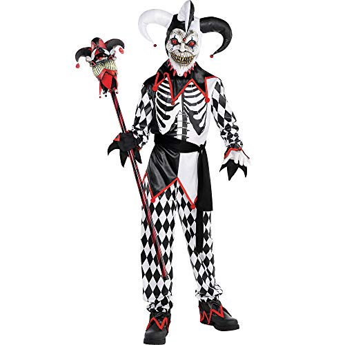 AMSCAN Sinister Jester Halloween Costume for Boys, Extra Large, with Included Accessories -