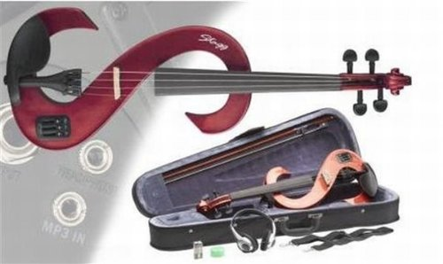 Stagg EVN 4/4 MRD Silent Violin Set With Case