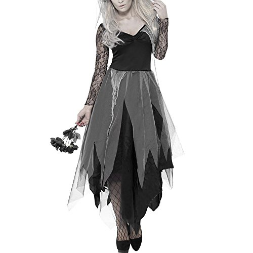 Scorpiuse Halloween Zombie Bride Costume Ghost Graveyard Corpse Bride Dress for Adult Women (Vampire Bride Costumes)