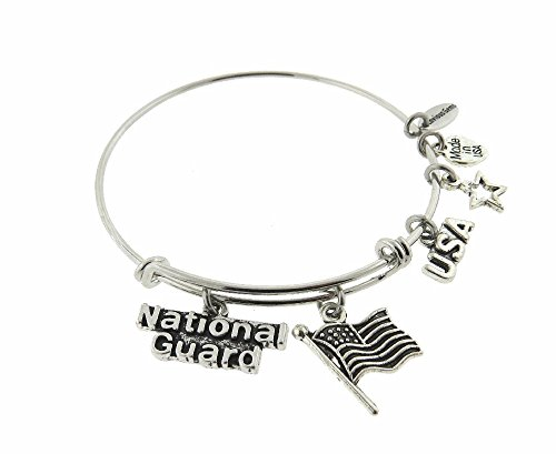 Envious Gems National Guard Silver Tone Expandable Wire Bracelet