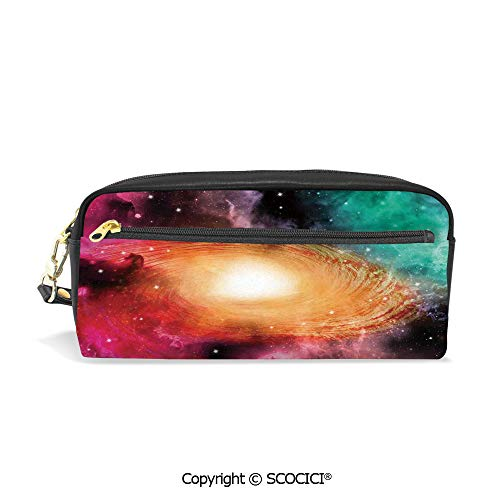 Printed Pencil Case Large Capacity Pen Bag Makeup Bag Colorful Astronomy Pictures of A Spiral Galaxy Stars and Stardust for School Office Work College Travel