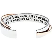 Ms. Clover Encouragement Gift, Happiness Can Be Found Even In The Darkest of Times, If One Only Remembers To Turn On The Light Inspirational Bracelet. Message Cuff.